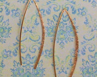 Delicate 2 inch Gold Hoops, Gold Threader Earrings, Open Hoop Earrings, Wishbone Gold Hammered Hoop Earrings, Made to Order