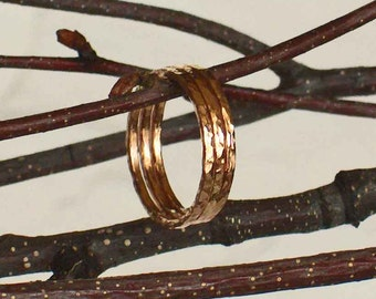 Rose Gold Band Rings, 2 14k Rose Gold Filled Stackable Rings, Rustic Hammered Rings, Boho Chic Rings, Minimalist Jewelry, Mod Boho Jewelry