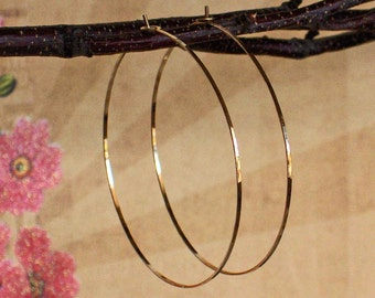 Delicate Flat Front Hoops, High Fashion Earrings, 14K Yellow Gold Filled Earrings