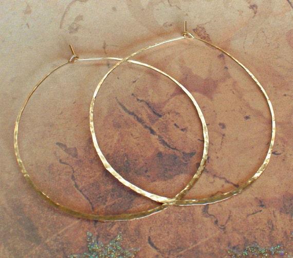 Hammered Gold Hoops, Delicate 14K Yellow Gold Earrings, Rose Gold Hoops, Sterling Silver Earrings, Large 2 1/4 inch Wire Hoop Earrings