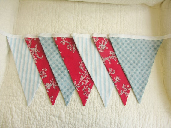 Red White and Blue Fabric Bunting Garland