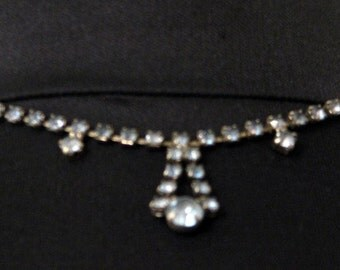 Vintage 1940s Blue Rhinestone Necklace Retro Glamour