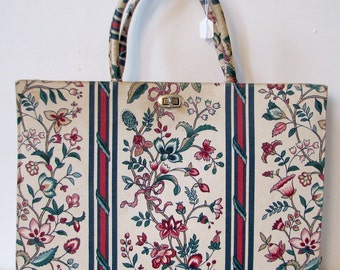 Vintage 1960s Margaret Smith Flower Print Handbag Purse