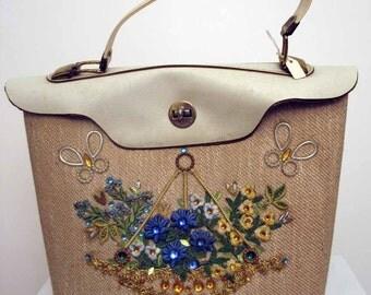 SALE was 45.00 Vintage 1960s Enid Collins Style Jeweled Handbag Purse