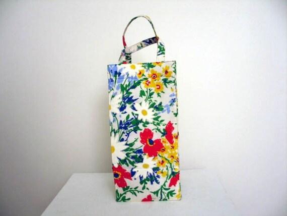 Vintage 1960's Floral Tall Skinny Wine Bottle Tote Bag by Margaret Smith