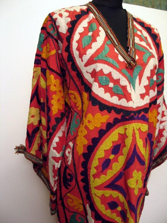 RESERVED FOR flaneuse flaneuse Gorgeous Vintage Uzbek Hand Embroidered Long Kaftan Dress
