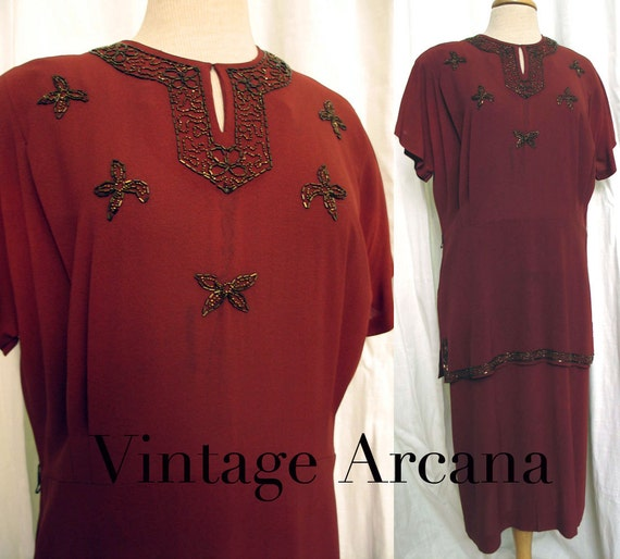 Vintage 1940's Cinnamon Crepe Beaded Peplum Dress SZ 14-16