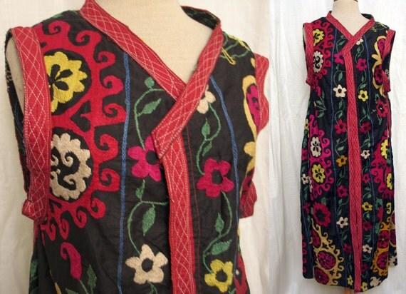 Vintage 1970's Uzbek Hand Embroidered Sleeveless Coat