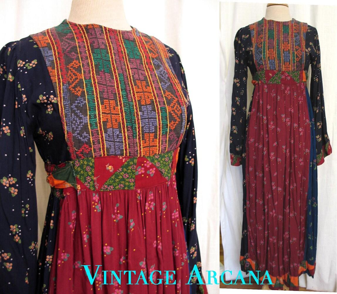 vintage 1970s afghanistan tribal hippie dress
