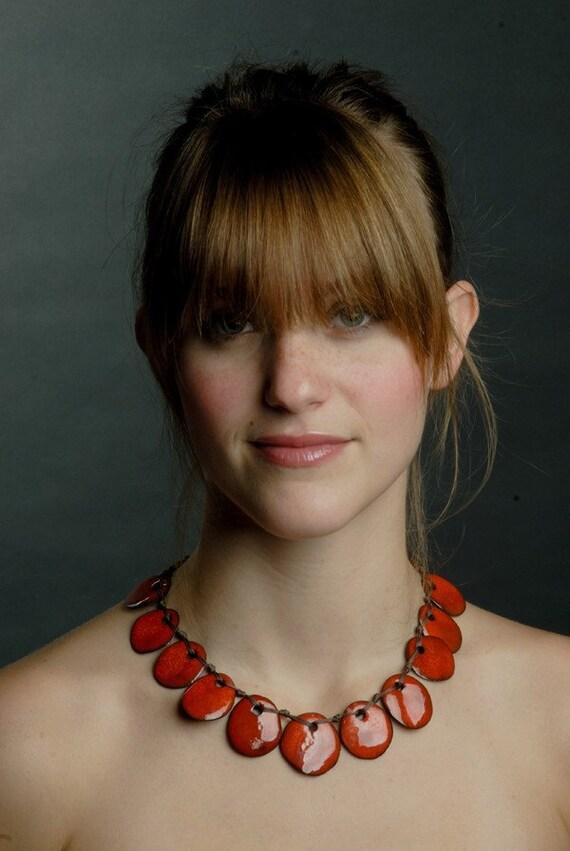 Red ceramics beads necklace