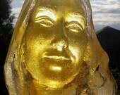 Cast Glass Art Prism Face Sculpture, Smiling Makes Warm Light, Suncatcher