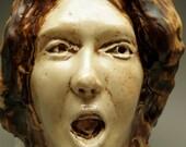 The Scream, Ceramic Art Face Sculpture Wall Piece