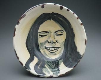 Ceramic Bowl Smiling Serving Dish Face Original Painting