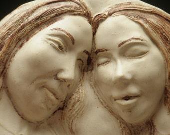 Ceramic Wall Platter, The Lovers, Relief Figure Sculpture Couple Faces Sale
