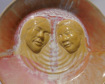 Bright Blissful Lovers Art, Ceramic Wall Platter Bas Relief Sculpture Relationship Faces