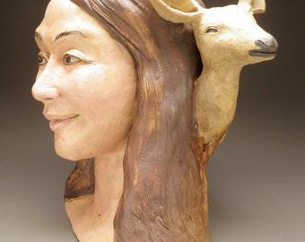 Ceramic Bust Sculpture Head, Figure Art Animal Narrative Portrait Loving Smile Face, Hello Deer
