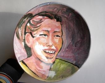 Ceramic Bowl Crooked Smile Art Original Figure Painting Majolica Glaze Happy Face