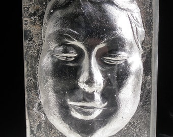 Cast Glass Face Sculpture Prism Block, Being In The Void, Crystal Clear Portrait of a Woman