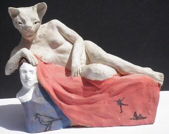 Cat Woman Sculpture, Ceramic Nude Figure Sculpture Odalisque Shamanic Art with Animals