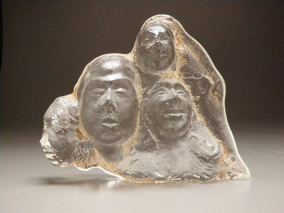 Glass Art Sand Cast Group of Faces Friends Sculpture