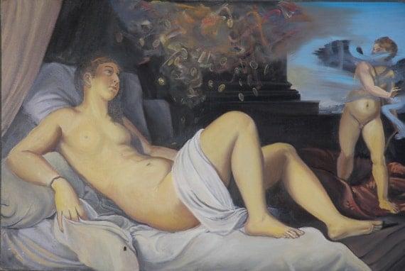 Danae, Figure Art Nude Original Oil Painting after Titian, Rain of Gold, Shower of Zeus