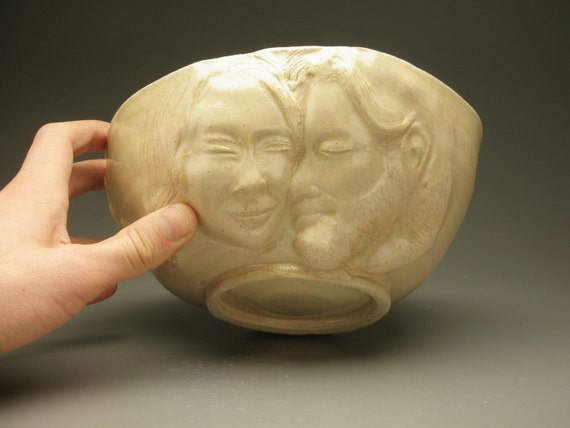 Large Stoneware Bowl, Lovers Blissware with Bas Relief Sculptures, Buddhas in Meditation