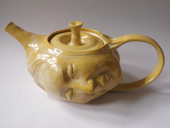 Art Teapot, Dream On, Surreal Serving Vessel Face Sculpture in Relaxation Kitchen Head