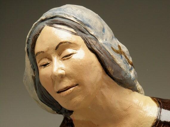 Ceramic Portrait Sculpture, Figurative Art Bust of Mother Mary