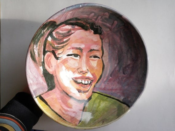 Ceramic Bowl Crooked Smile Art Original Figure Painting Majolica Glaze Happy Face