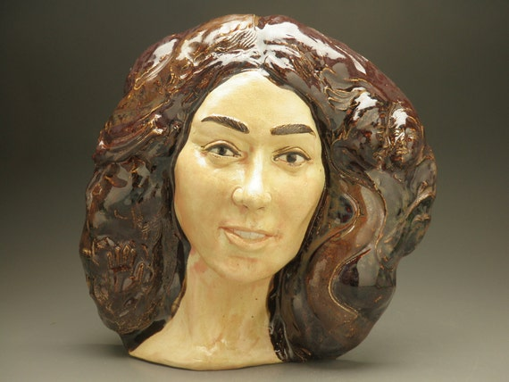 Ceramic Figure Sculpture Wall Art Face, Goddess Portrait with Open Eyes, Darshan
