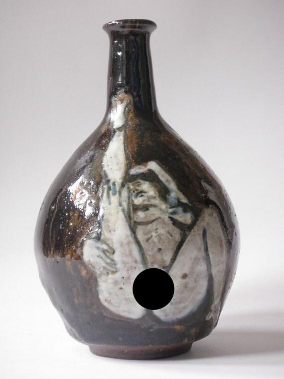 Erotic Art Pottery Bud Vase, Mature, Original Nude Figure Painting on a Hand Made Bottle