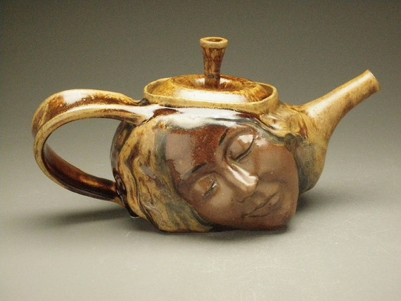 Ceramic Tea Pot, Earth Goddess Dream with Dancers and Yoginis in Bas Relief Sculpture, Gaia Face Art Teapot