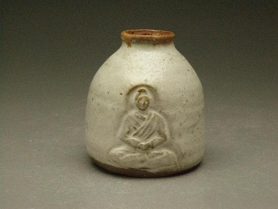 Ceramic Bud Vase Buddha Bas Relief Art Vessel