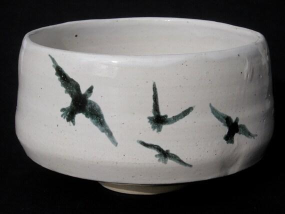 Ceramic Bird Bowl Chawan Black and White Majolica Glaze Painting Tea bowl with Flock of Birds in Flight