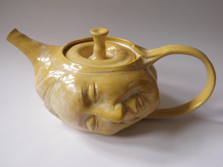 Art Teapot Dream On Surreal Serving Vessel Face Sculpture In