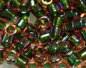 Miyuki Delica 11\/0 Glass Seed Beads DB1741  Olive-lined Orange AB