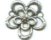 Antiqued Silver Plated Brass Flower Pendant