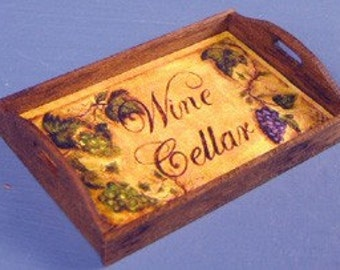 Wine Cellar Theme Tray 1 Inch Scale Dollhouse Miniature