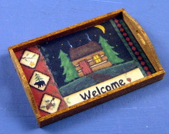 Cabin Welcome Tray 1 Inch Scale Dollhouse Miniature