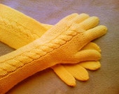 Extra Long Armwarmers-Five Finger Cable Knit Merino wool Colden Poppy  Yellow Gloves