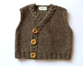 Hand knit Baby Vest Tweed Waistcoat - Eco Friendly Tweed Brow Off white sizes from 1-9 month