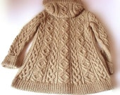 Hooded Cable Coat Pockets Winter Outdoor-Handknit Choose the color