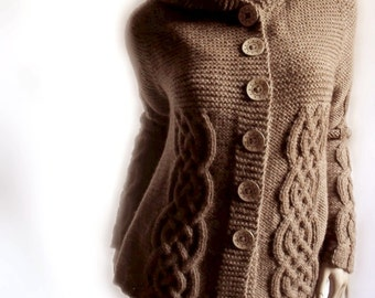 Hand Knit Sweater Womens Cable Knit Cardigan Hooded Coat Chocolate Brown Many Colors Available