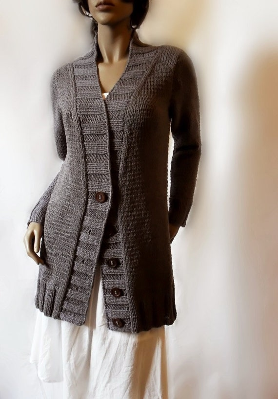 Handknit Cotton Cardigan in Grey by Pilland Choose the color Cotton or Wool