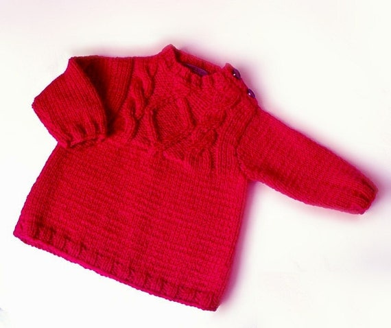 Knitting Patterns Childrens Jumpers : Red Kids jumper Hand Knitted Childrens sweater Cable by Pilland