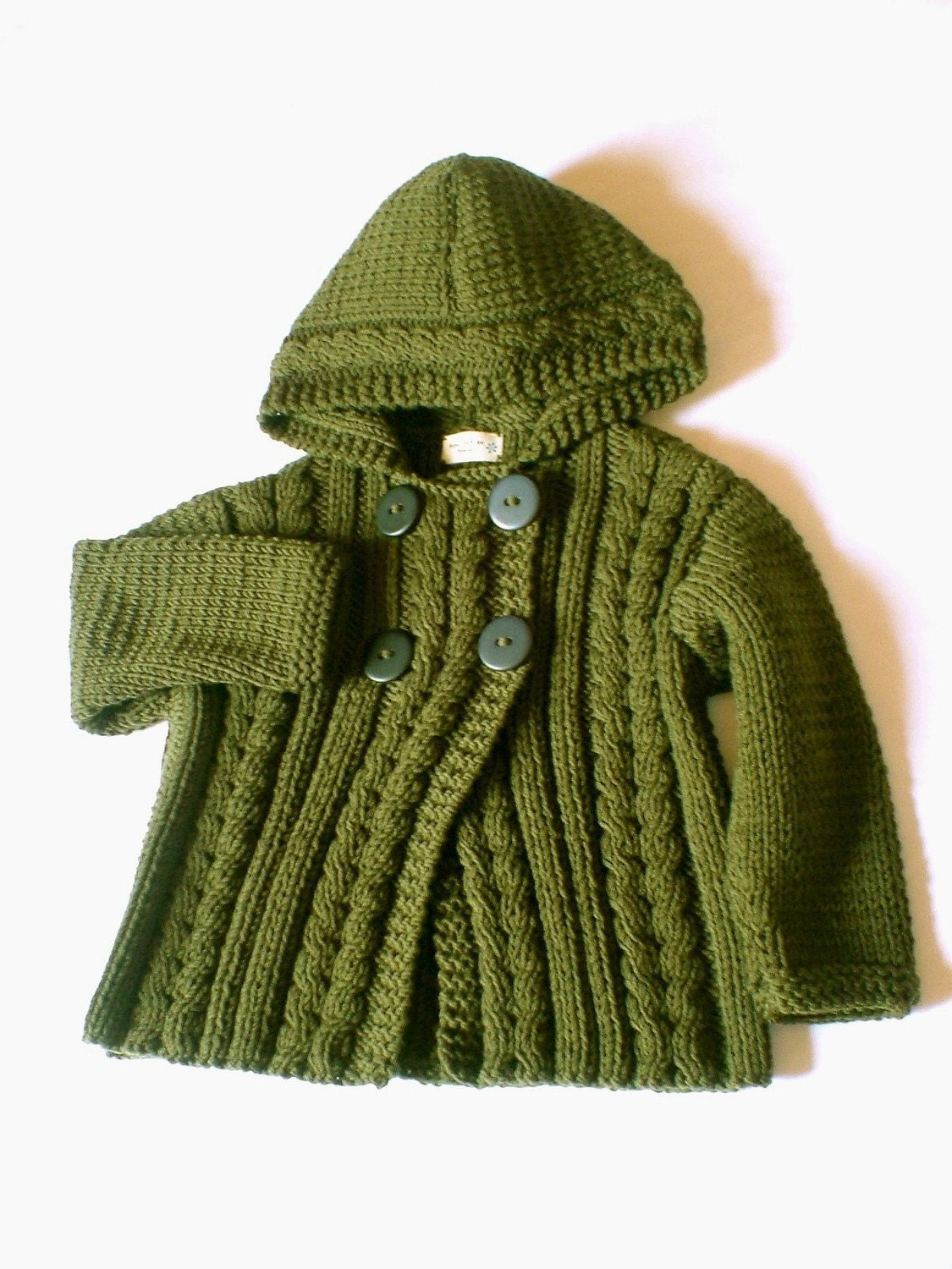 Hand Knit Wool Hooded Jacket Cardigan for Boy or Girl in
