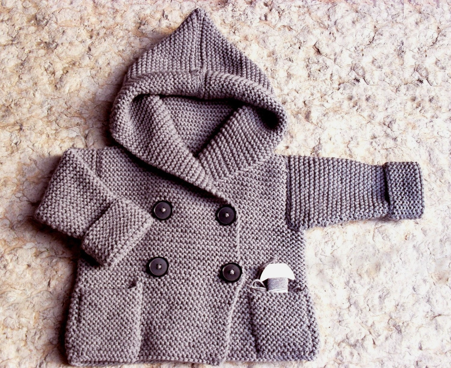 Knitting Pattern For Toddler Duffle Coat : Hand Knit-Duffel Coat for Baby Light Grey Pure Wool or
