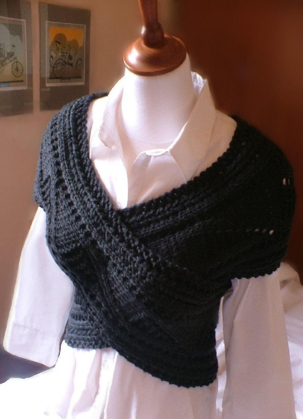 Hand Knit Sweater Vest Cowl Neck Warmer Womens Merino Wool