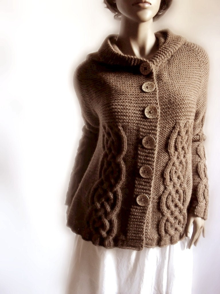 Knitting Pattern Hooded Cardigan : Hand Knit Sweater Womens Cable Knit Cardigan Hooded Coat