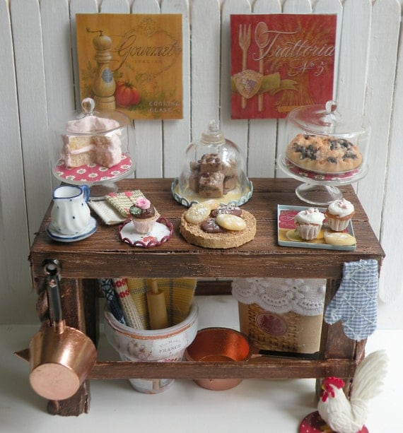 Miniature Country Bakery Table/ Kitchen Island